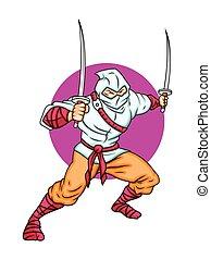 ninja, vechter, spotprent
