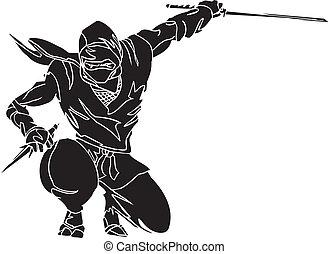ninja, vechter, -, vector, illustration., vinyl-ready.