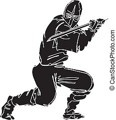 ninja, vechter, -, vector, illustration., vinyl-ready.