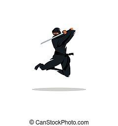 ninja, vector, aziaat, illustratie, spotprent