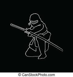 ninja, vector, black