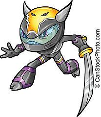 ninja, vector, guerrero, cyborg, soldado