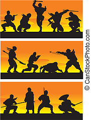 ninja, vector, illustration., sinrise.