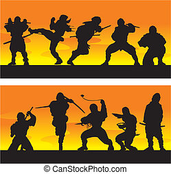ninja, vector, illustration., sunrise.