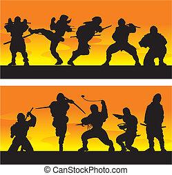 ninja, vector, illustration., sunrise.