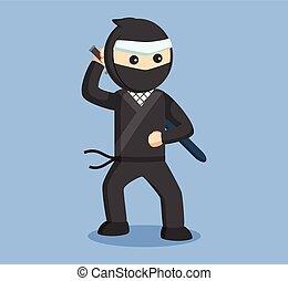 ninja, vector, katana