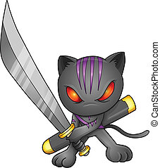ninja, vector, kunst, illustratie, kat