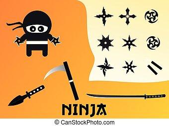 ninja, vector, set