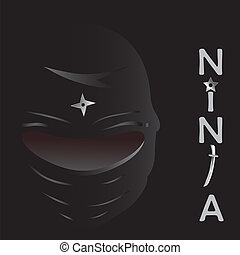 ninja, vector, spotprent, illustratie