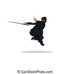 ninja, vector, spotprent, illustration.