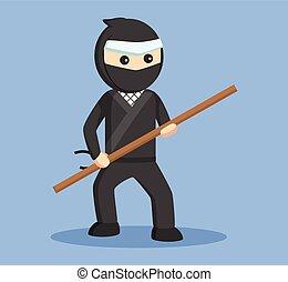 ninja, vector, stok, vasthouden