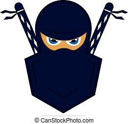 ninja, vector, template., logo, ontwerp