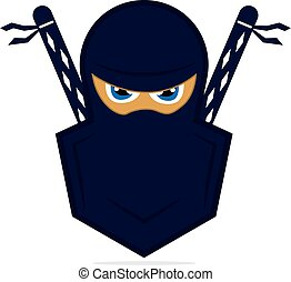 ninja, vector, template., logotipo, diseño