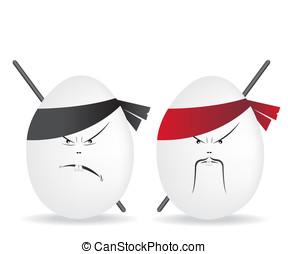 ninja, vejce, ilustrace
