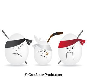 ninja, vejce, ilustrace, illustratio