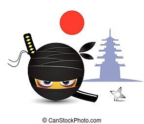ninja, vestido, smiley