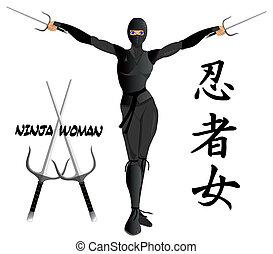 ninja, vrouw, gewapend