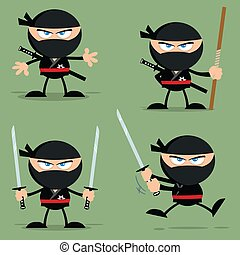 Ninja Warrior Cartoon Character With Weapons Flat Design. Collection