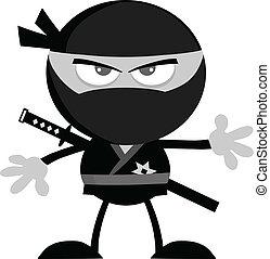 Ninja Warrior In Gray Color - Angry Ninja Warrior Cartoon...