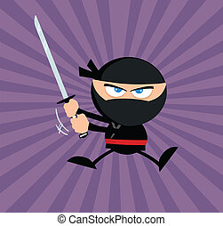 Ninja Warrior Jumping With Katana