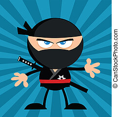 Ninja Warrior Over Blue Background