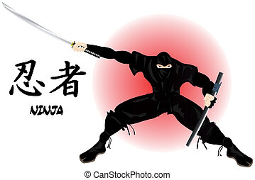 Ninja Warrior with katana defending his position