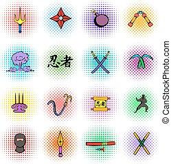 Ninja weapon icons set, comics style