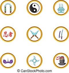 Ninja weapons icon set, cartoon style - Ninja weapons icon...