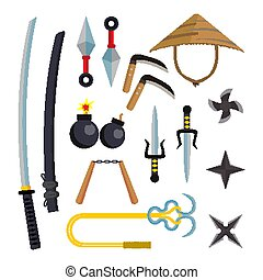 Ninja Weapons Set Vector. Assassin Accessories. Star, Sword,...
