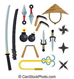 Ninja Weapons Set Vector. Assassin Accessories. Star, Sword,...