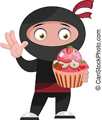 Ninja with cake, illustration, vector on white background.