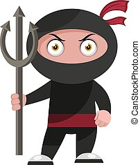 Ninja with devil spear, illustration, vector on white background.