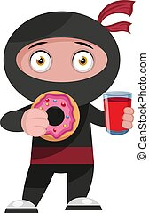 Ninja with donut, illustration, vector on white background.