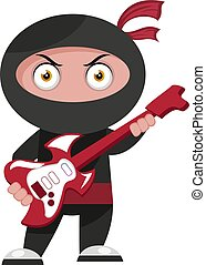 Ninja with guitar, illustration, vector on white background.