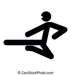Ninja with kick stick icon black color illustration flat style simple image