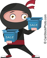 Ninja with sale boxes, illustration, vector on white background.