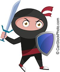 Ninja with shield, illustration, vector on white background.