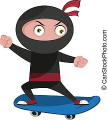 Ninja with skateboard, illustration, vector on white background.