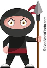 Ninja with spear, illustration, vector on white background.