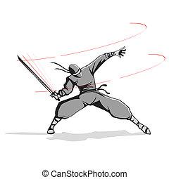 Ninja with Sword - illustration of ninja fighter attacking...