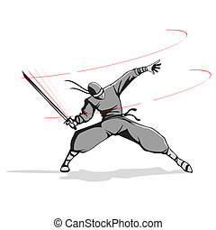 Ninja with Sword - illustration of ninja fighter attacking...