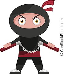 Ninja with weapon, illustration, vector on white background.
