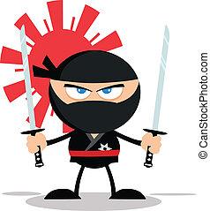 ninja, zangado, personagem, guerreira