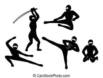 ninjas, ensemble, silhouette, illustration, arrière-plan., vecteur, noir, eps10, blanc