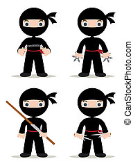 ninjas set - set of 4 ninjas with weapons