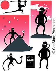 ninjas, vecteur, ensemble, mignon