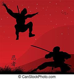 ninjas - vector illustration of ninjas