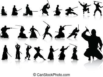 ninjas - vector set of various martial artists