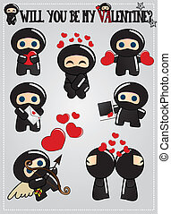 Ninjas with love messages - Cute ninja characters with love...
