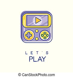 Nintendo game logo in line style with purple and yellow fill. Digital technology concept. Vector design for mobile app icon, gadget store, developer company